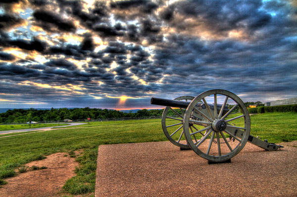 Abraham Art Print featuring the photograph Fire Clouds Over A Gettysburg Cannon by Andres Leon
