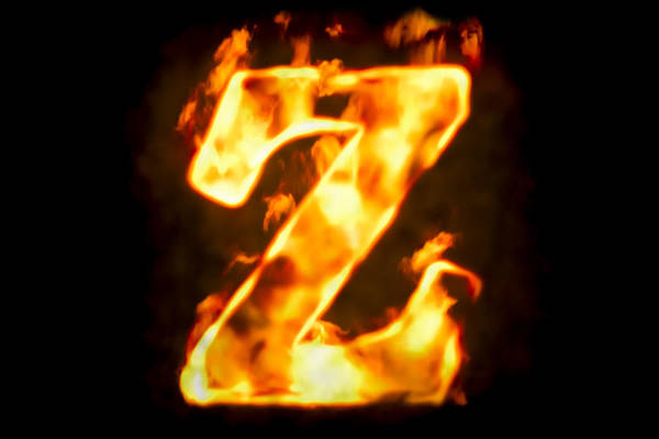 5887a11b0e4a Concepts   Topics Art Print featuring the photograph Fire Letter Z Of  Burning Flame Light