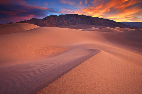Death Valley Art Print featuring the photograph Fire On Mesquite Dunes by Darren White