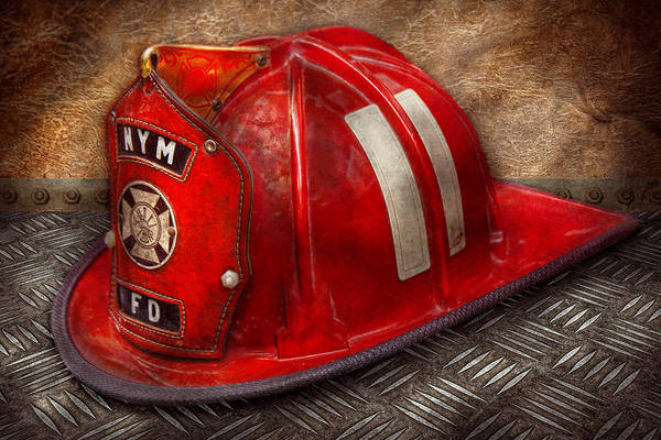 Fireman Art Print featuring the photograph Fireman - Hat - A Childhood Dream by Mike Savad