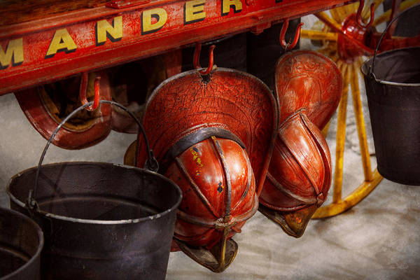 Savad Art Print featuring the photograph Fireman - Hats - I Volunteered For This by Mike Savad