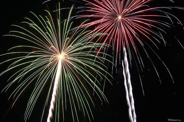 Fireworks Art Print featuring the photograph Fireworks 5 by Andrew Nourse