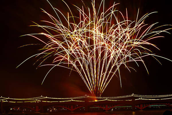July 4th Art Print featuring the photograph Fireworks At Tempe Town Lake by Saija Lehtonen