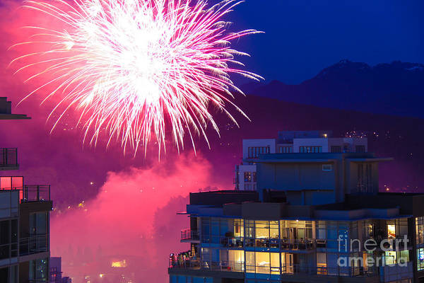 Fireworks Art Print featuring the photograph Fireworks In The City by Nancy Harrison