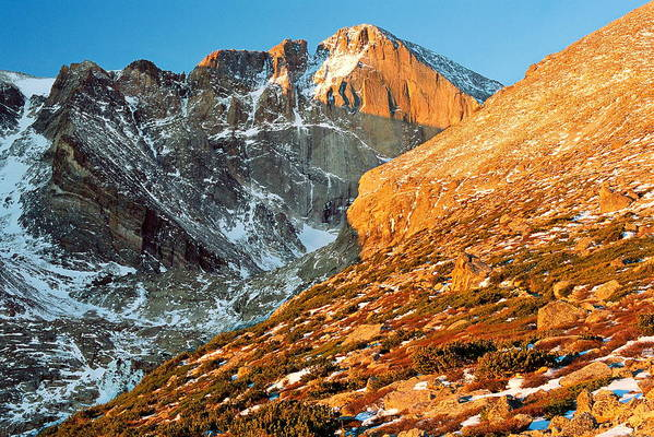 Landscapes Art Print featuring the photograph First Light At Longs Peak by Eric Glaser