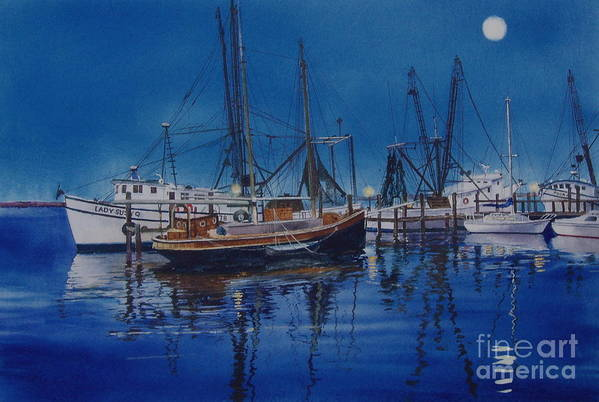 Night Print featuring the painting Fishmoon by Karol Wyckoff