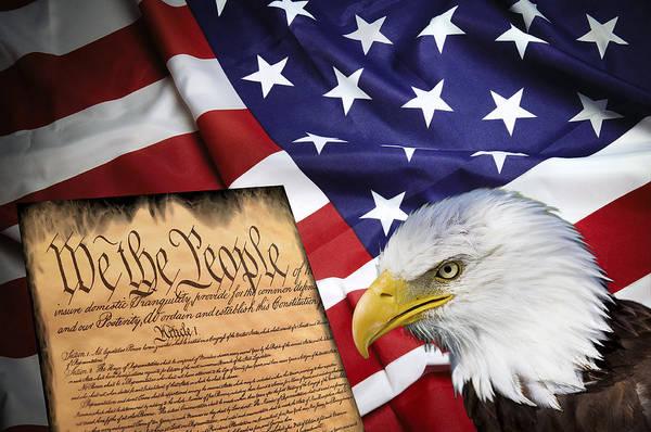 America Art Print featuring the digital art Flag Constitution Eagle by Daniel Hagerman
