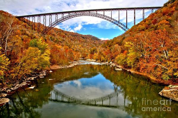 Flaming Fall Foliage At New River Gorge Art Print By Adam