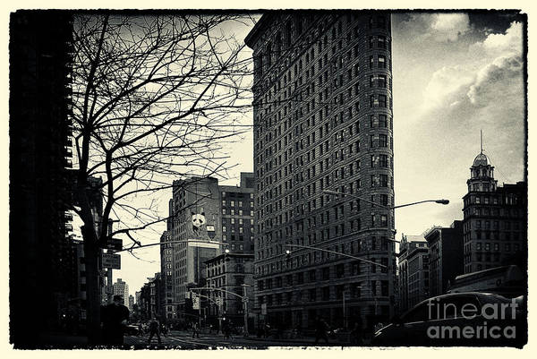Filmnoir Art Print featuring the photograph Flat Iron Building Fifth Avenue And Broadway by Sabine Jacobs