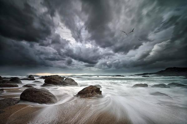 Landscape Art Print featuring the photograph Flight Over Troubled Waters by Santiago Pascual Buye
