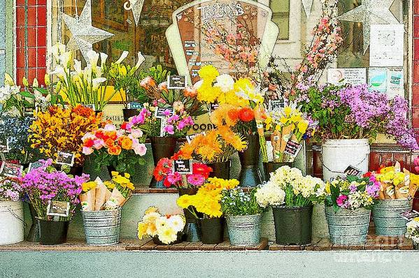 Bi-rite Market In San Francisco Art Print featuring the painting Flowers At The Bi-rite Market In San Francisco by Artist and Photographer Laura Wrede