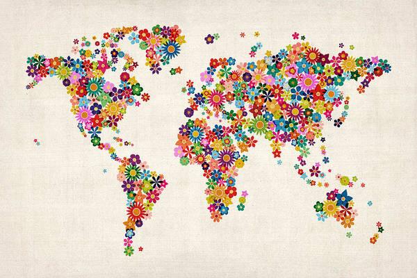 World Map Art Print featuring the digital art Flowers Map Of The World Map by Michael Tompsett
