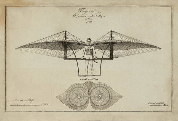 Flugmashine Patent 1807 Art Print featuring the photograph Flugmashine Patent 1807 by Bill Cannon
