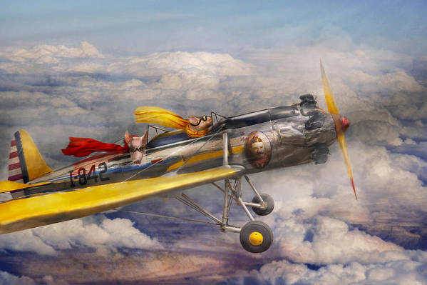 Pig Art Print featuring the photograph Flying Pig - Plane - The Joy Ride by Mike Savad
