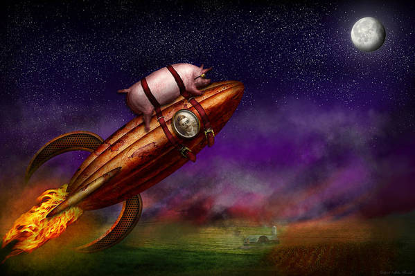 Pig Art Print featuring the photograph Flying Pig - Rocket - To The Moon Or Bust by Mike Savad