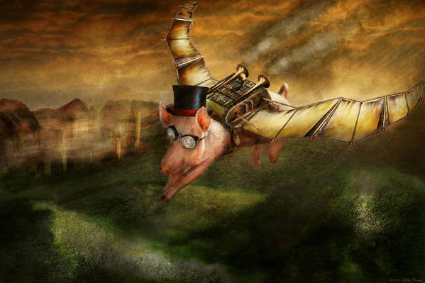 Pig Art Print featuring the photograph Flying Pig - Steampunk - The Flying Swine by Mike Savad