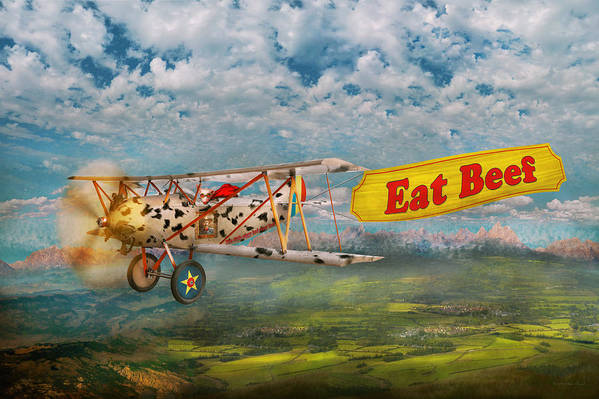 Self Art Print featuring the digital art Flying Pigs - Plane - Eat Beef by Mike Savad