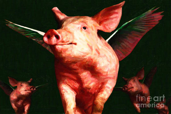 Animal Art Print featuring the photograph Flying Pigs V1 by Wingsdomain Art and Photography