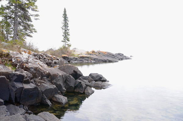 Lake Superior Scene Art Print featuring the photograph Foggy Day On Lake Superior by Sandra Updyke
