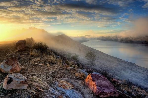 Sunrise Art Print featuring the photograph Foggy Morning Sunrise by Steve Barge