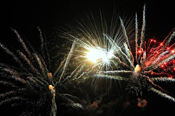 Fireworks Art Print featuring the photograph For United We Stand by Diana Angstadt