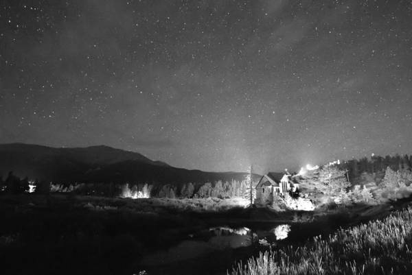 Chapel On The Rock Art Print featuring the photograph Forest Of Stars Above The Chapel On The Rock Bw by James BO Insogna