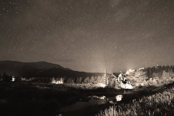 Chapel On The Rock Art Print featuring the photograph Forest Of Stars Above The Chapel On The Rock Sepia by James BO Insogna