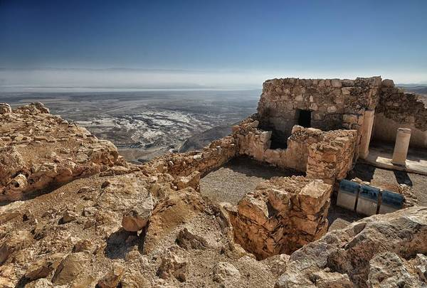 Artistic Photograph Of The Fortress Of Masada In The Desert Wilderness Israel Art Print featuring the photograph Fortress Of Masada Israel 1 by Mark Fuller