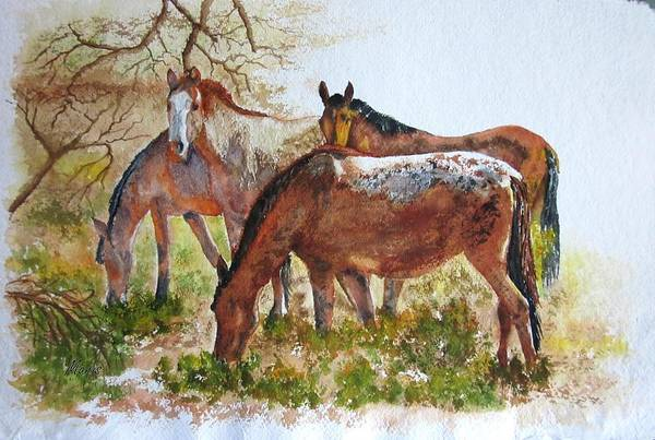 Animals Art Print featuring the painting Four Horses Grazing by Maris Sherwood