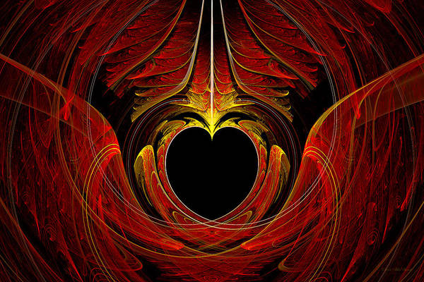 Abstract Art Print featuring the digital art Fractal - Heart - Victorian Love by Mike Savad