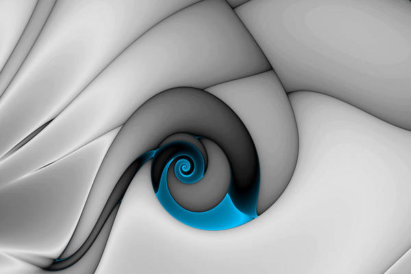 Abstract Art Print featuring the digital art Fractures Curl Blue by Mark Eggleston