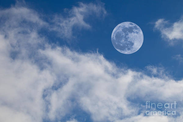 Astrology Art Print featuring the photograph Full Moon On Blue Sky by Sarah Cheriton-Jones