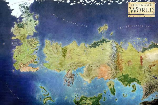 Game Art Print featuring the painting Game Of Thrones World Map by Gianfranco Weiss