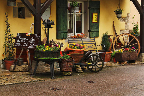 Flowers Art Print featuring the photograph Gast Haus Display In Rothenburg Germany by Greg Matchick