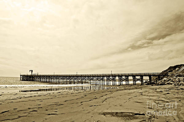Gaviota Art Print featuring the photograph Gaviota Pier In Morning Sepia Tone by Artist and Photographer Laura Wrede