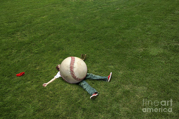 Baseball Print featuring the photograph Giant Baseball by Diane Diederich