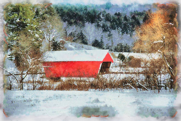 Covered Bridge-gifford Bridge Vermont By Jeff Folger Art Print featuring the photograph Gifford Covered Bridge In Winter by Jeff Folger