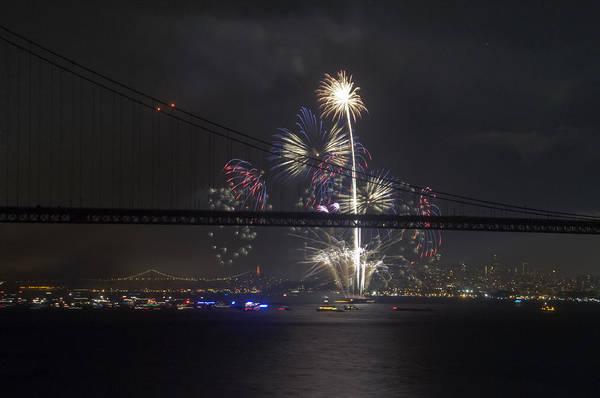 Golden Gate Bridge Art Print featuring the photograph Golden Gate Bridge 75th Anniversary Fireworks With Bridge Silhouette by Scott Lenhart
