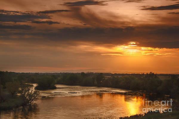 Sunset Art Print featuring the photograph Golden Payette River by Robert Bales