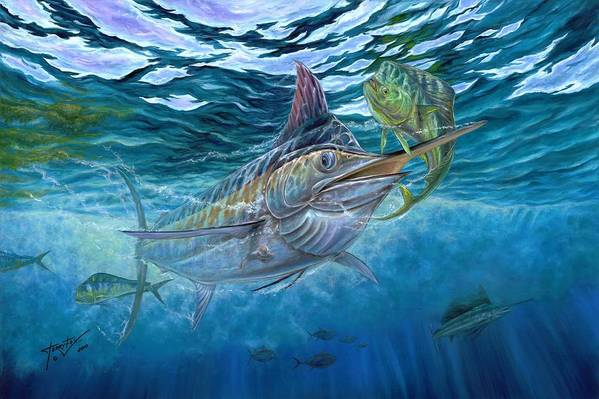 Blue Marlin Art Print featuring the painting Great Blue And Mahi Mahi Underwater by Terry Fox