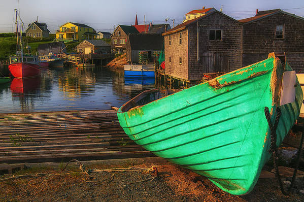 Green Art Print featuring the photograph Green Boat Peggys Cove by Garry Gay