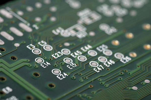 Board Art Print featuring the photograph Green Printed Circuit Board Closeup by Matthias Hauser