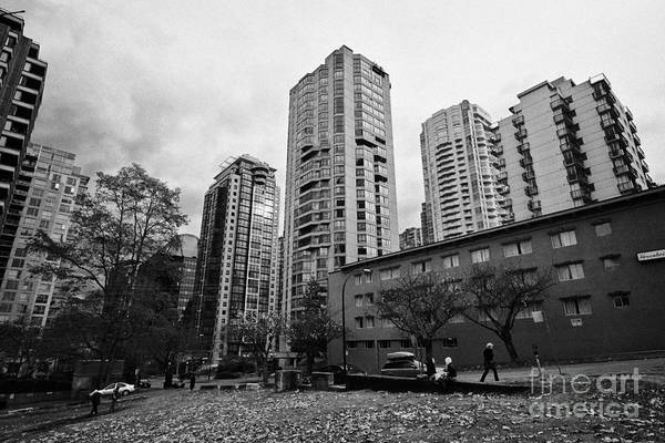 High-rise Art Print featuring the photograph Green Space In Front Of High Rise Apartment Condo Blocks In The West End Between Robson And West Geo by Joe Fox