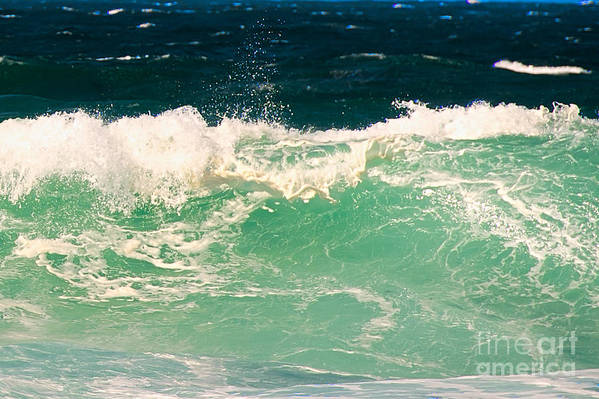 Pacific Grove Print featuring the photograph Green Wave Pacific Grove Ca by Artist and Photographer Laura Wrede