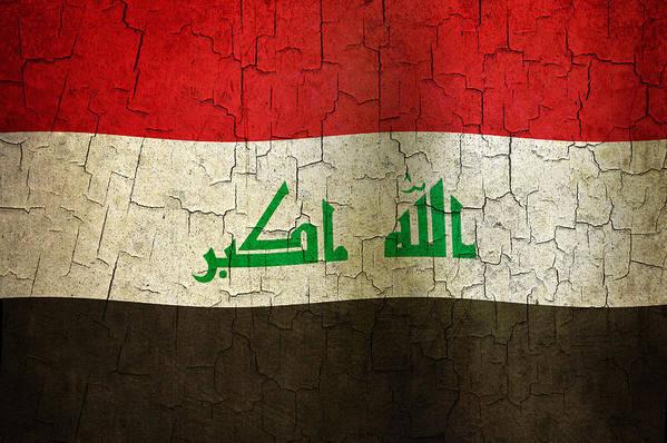 Aged Art Print featuring the digital art Grunge Iraq Flag by Steve Ball