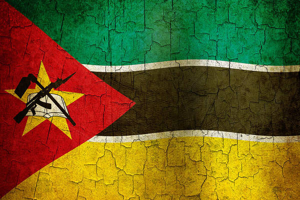 Aged Art Print featuring the digital art Grunge Mozambique Flag by Steve Ball