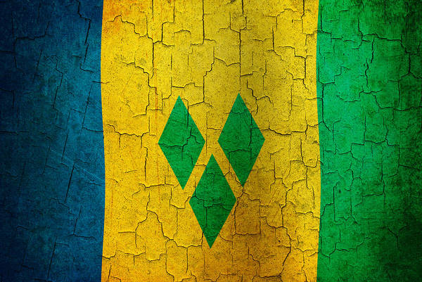 Aged Art Print featuring the digital art Grunge Saint Vincent And The Grenadines Flag by Steve Ball