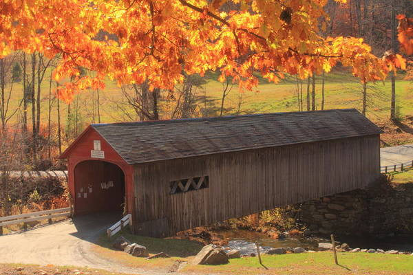 Covered Bridge Art Print featuring the photograph Guilford Vermont Covered Bridge by John Burk