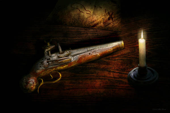 Police Art Print featuring the photograph Gun - Pistol - Romance Of Pirateering by Mike Savad