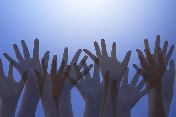 Space Print featuring the photograph Hands Raised In Worship by Colette Scharf